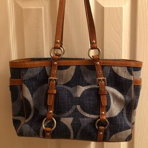 Coach Blue Denim and Leather Tote